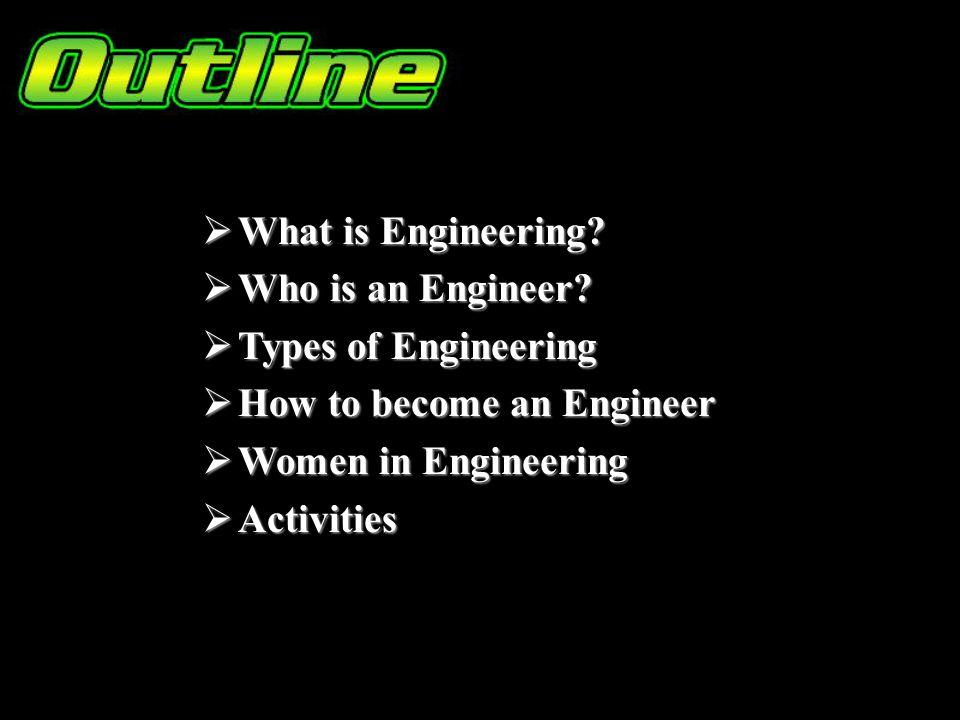 What is Engineering? What is Engineering? Who is an Engineer? Who is an Engineer? Types of Engineering Types of Engineering How to become an Engineer