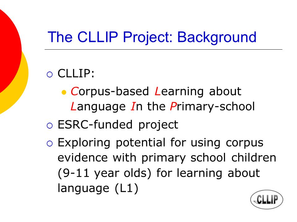 The CLLIP Project: Background CLLIP: Corpus-based Learning about Language In the Primary-school ESRC-funded project Exploring potential for using corpus evidence with primary school children (9-11 year olds) for learning about language (L1)
