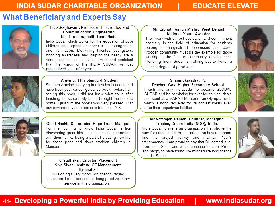 INDIA SUDAR CHARITABLE ORGANIZATION | EDUCATE ELEVATE -11- Developing a Powerful India by Providing Education | www.indiasudar.org Aravind, 11th Stand