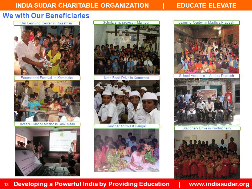 INDIA SUDAR CHARITABLE ORGANIZATION | EDUCATE ELEVATE -13- Developing a Powerful India by Providing Education | www.indiasudar.org We with Our Benefic