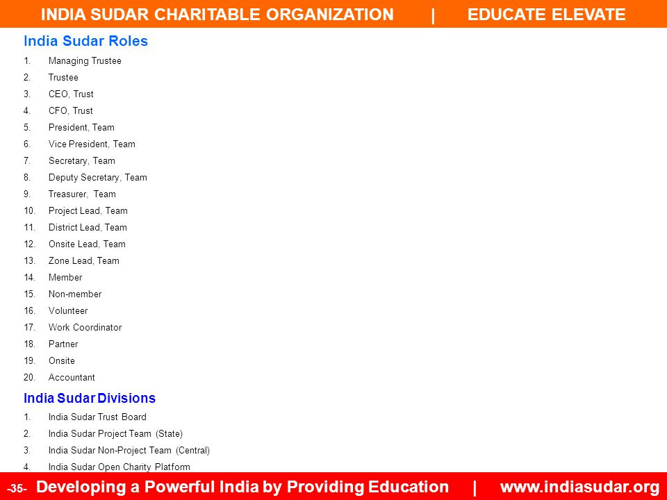INDIA SUDAR CHARITABLE ORGANIZATION | EDUCATE ELEVATE -35- Developing a Powerful India by Providing Education | www.indiasudar.org India Sudar Roles 1