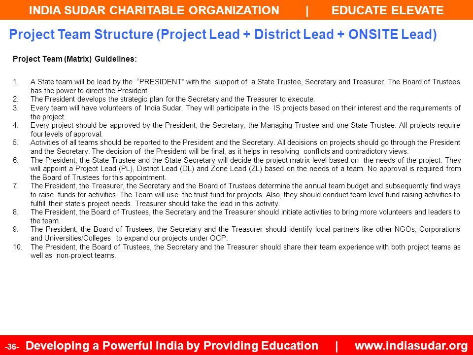 INDIA SUDAR CHARITABLE ORGANIZATION | EDUCATE ELEVATE -36- Developing a Powerful India by Providing Education | www.indiasudar.org Project Team (Matri