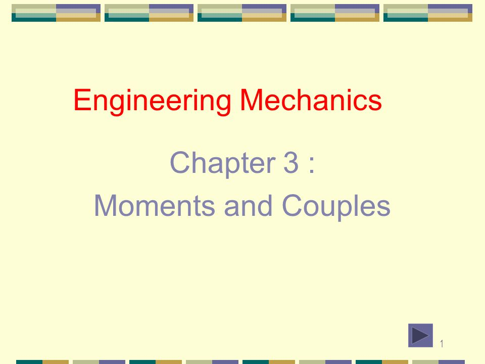 1 Engineering Mechanics Chapter 3 : Moments and Couples