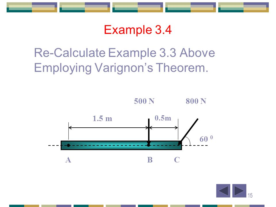 15 Example 3.4 Re-Calculate Example 3.3 Above Employing Varignons Theorem. A B C 60 0 500 N800 N 1.5 m 0.5m