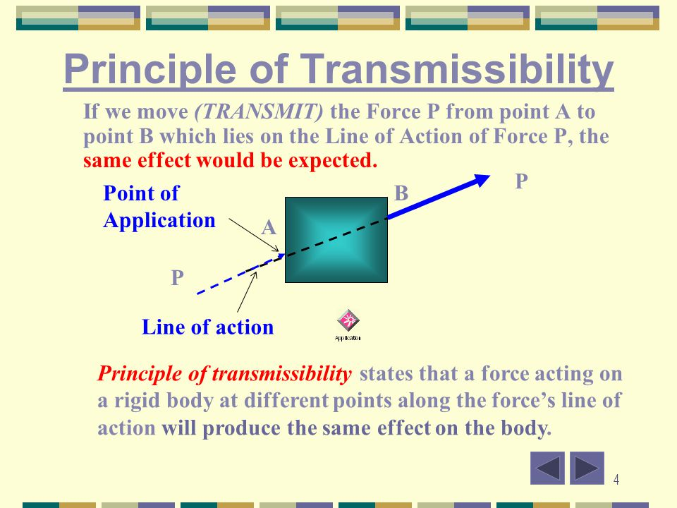 4 Principle of Transmissibility If we move (TRANSMIT) the Force P from point A to point B which lies on the Line of Action of Force P, the same effect