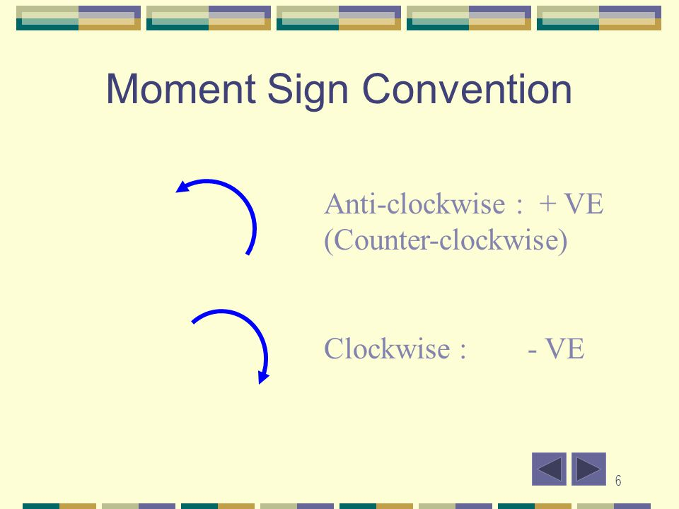 6 Moment Sign Convention Anti-clockwise : + VE (Counter-clockwise) Clockwise :- VE