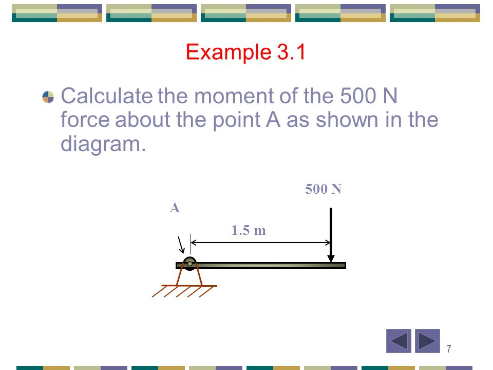 8 A Example 3.1 Solution 1.5 m 500 N Since the perpendicular distance from the force to the axis point A is 1.5 m, from M A = F x d M A = - 500 x 1.5 = - 750 Nm = 750 Nm