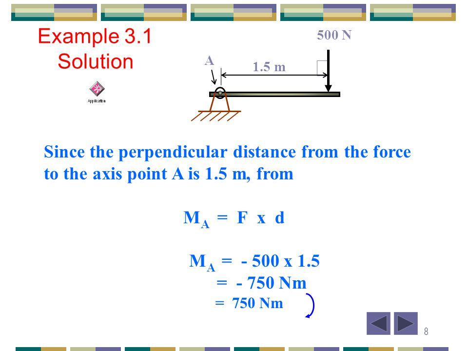19 Example 3.5 Solution 20 N force: F x = 20 cos 45 = 14.14 N F y = 20 sin 45 = 14.14 N 0.15 m 0.08m 0.1038 m 45 N 20 N 35 N 80 o 45 o 60 o A B C D M A = (- 45 sin 80 x 0.1038) + (- 35 cos 60 x 0.08) + (20 cos 45 x 0.08) + (20 sin 45 x 0.15) = - 4.591 – 1.4 + 1.131 + 2.121 = - 2.74 Nm = 2.74 Nm Fy Fx 20 N 45 0