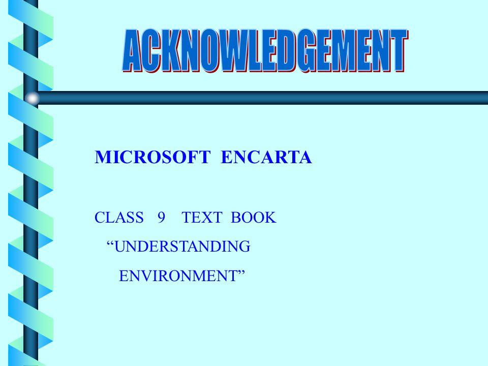 MICROSOFT ENCARTA CLASS 9 TEXT BOOK UNDERSTANDING ENVIRONMENT
