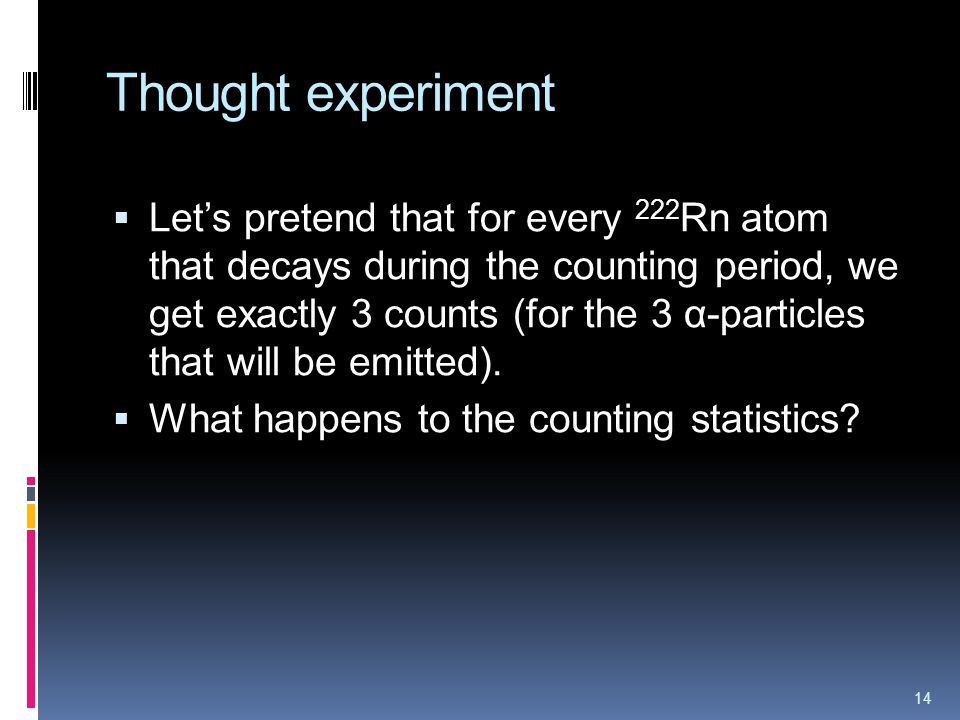 Thought experiment Lets pretend that for every 222 Rn atom that decays during the counting period, we get exactly 3 counts (for the 3 α-particles that will be emitted).