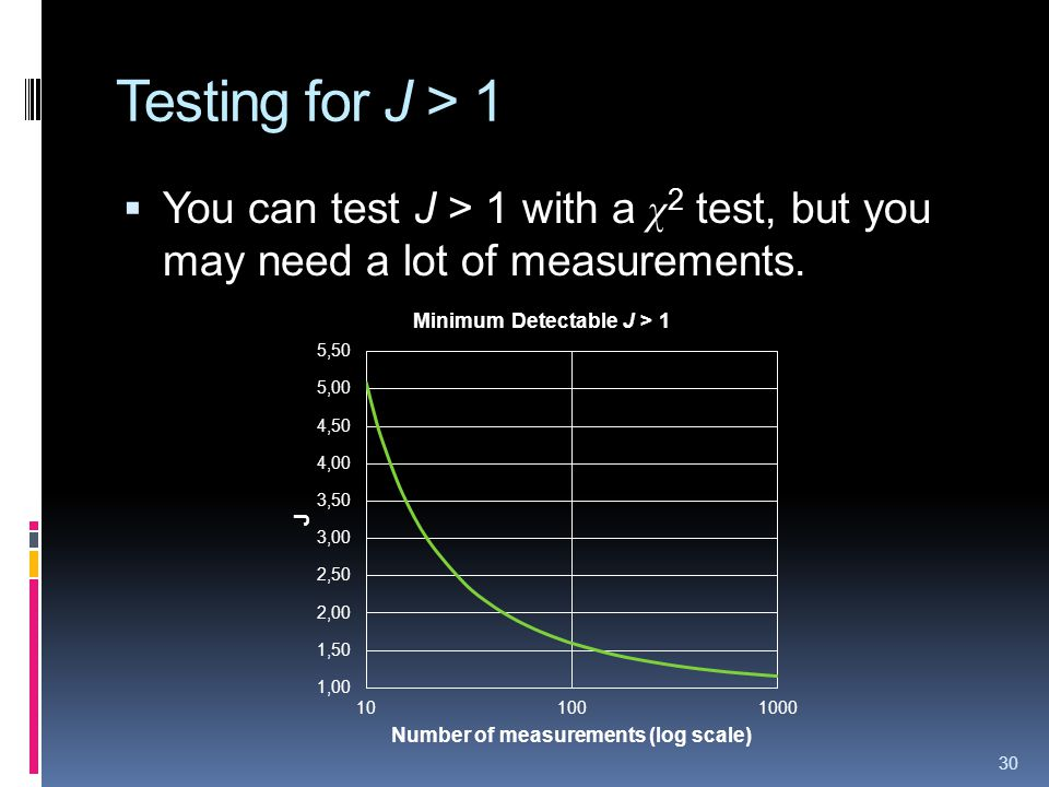 Testing for J > 1 You can test J > 1 with a χ 2 test, but you may need a lot of measurements. 30