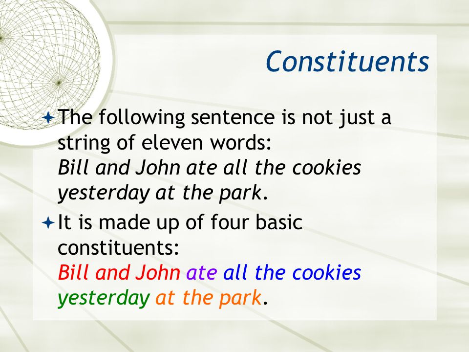 Constituents The following sentence is not just a string of eleven words: Bill and John ate all the cookies yesterday at the park. It is made up of fo