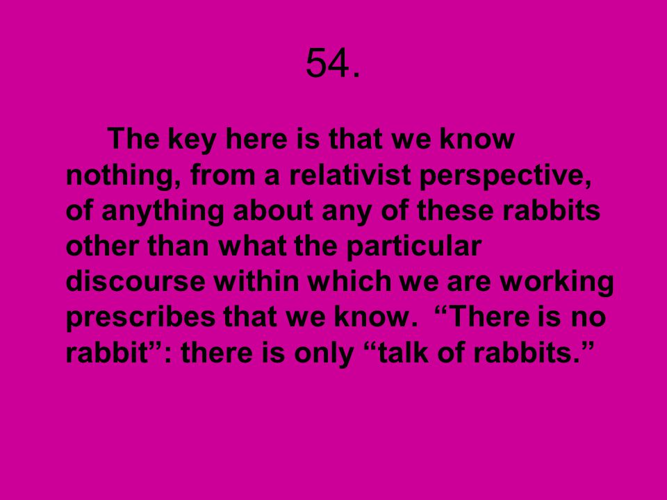54. The key here is that we know nothing, from a relativist perspective, of anything about any of these rabbits other than what the particular discour