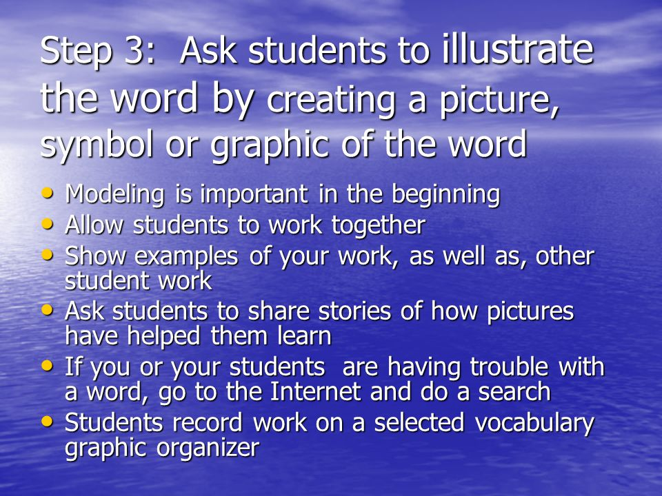 Step 3: Ask students to illustrate the word by creating a picture, symbol or graphic of the word Modeling is important in the beginning Modeling is im