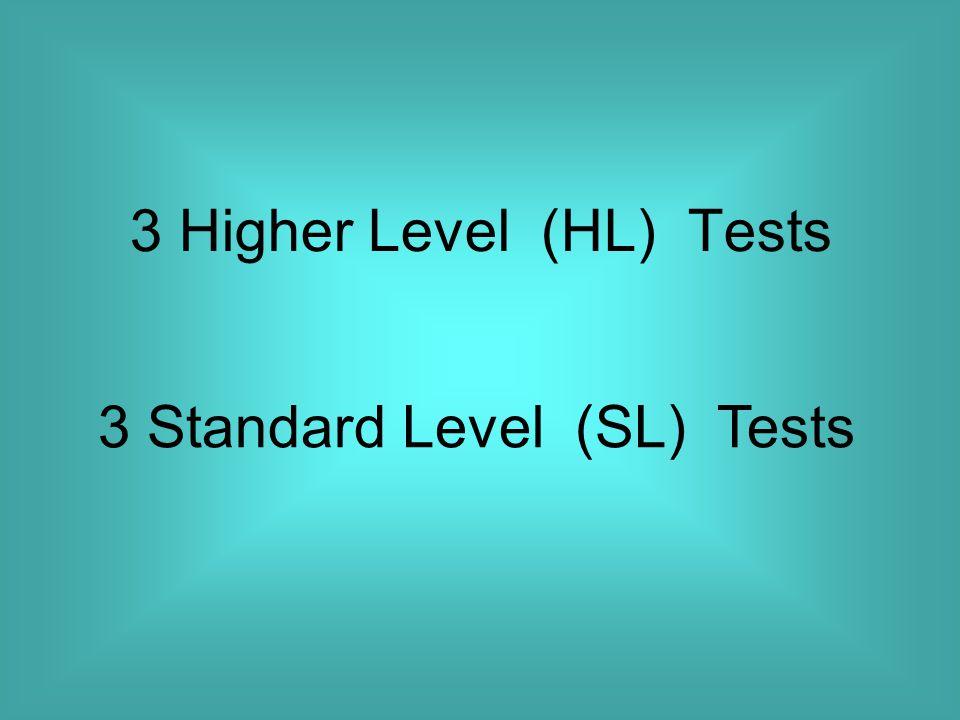 3 Higher Level (HL) Tests 3 Standard Level (SL) Tests