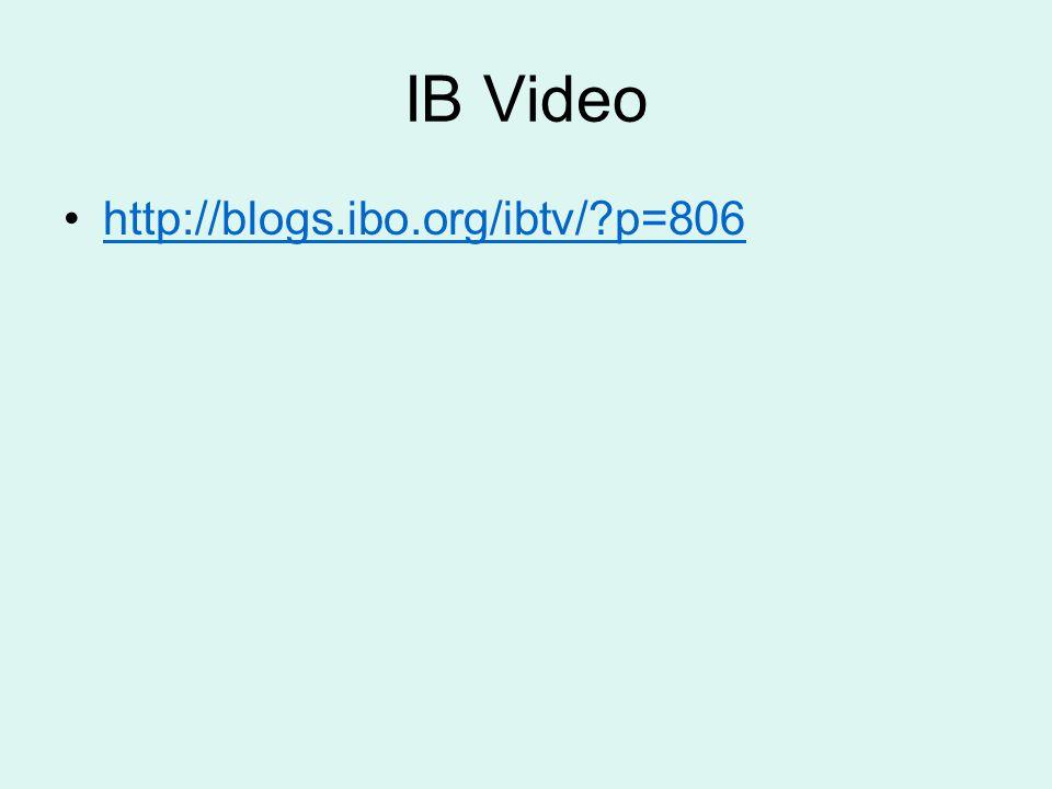 IB Video http://blogs.ibo.org/ibtv/?p=806