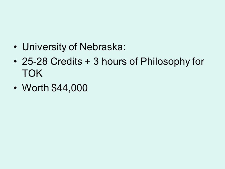 University of Nebraska: 25-28 Credits + 3 hours of Philosophy for TOK Worth $44,000
