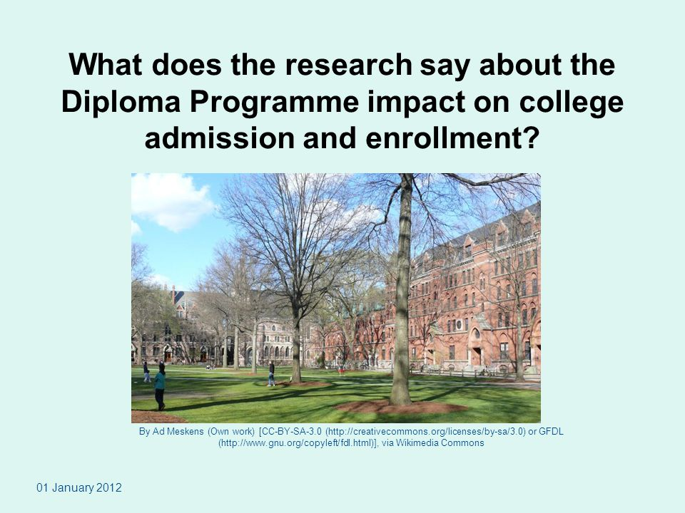 What does the research say about the Diploma Programme impact on college admission and enrollment.