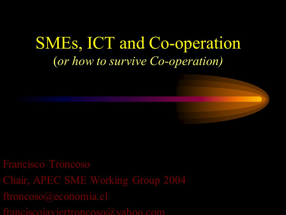SMEs, ICT and Co-operation (or how to survive Co-operation) Francisco Troncoso Chair, APEC SME Working Group 2004 ftroncoso@economia.cl franciscojavie