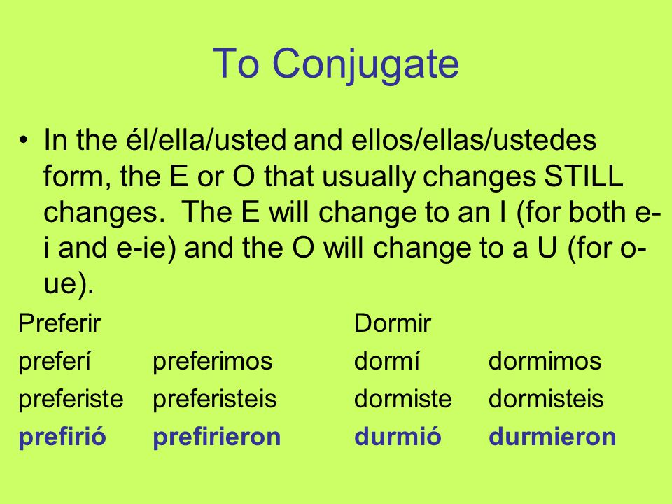 To Conjugate In the él/ella/usted and ellos/ellas/ustedes form, the E or O that usually changes STILL changes. The E will change to an I (for both e-