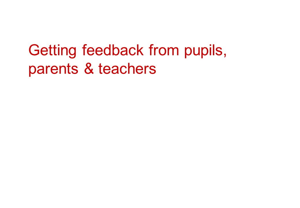 Getting feedback from pupils, parents & teachers