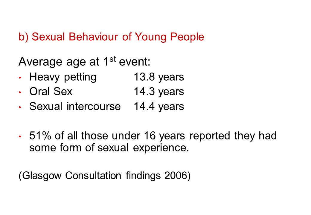 b) Sexual Behaviour of Young People Average age at 1 st event: Heavy petting13.8 years Oral Sex14.3 years Sexual intercourse14.4 years 51% of all those under 16 years reported they had some form of sexual experience.