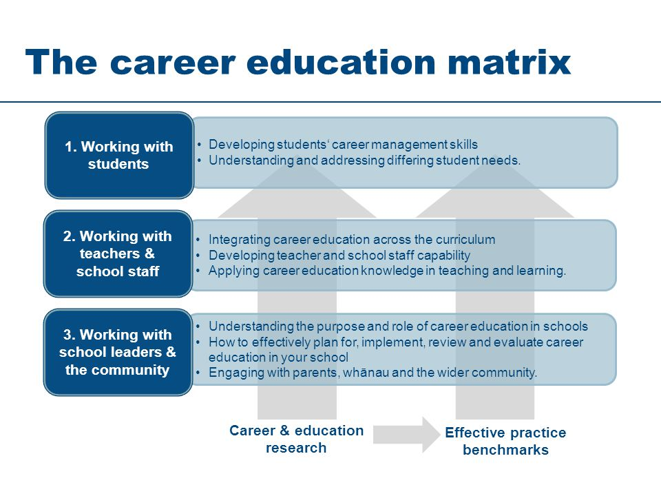 The career education matrix Integrating career education across the curriculum Developing teacher and school staff capability Applying career educatio