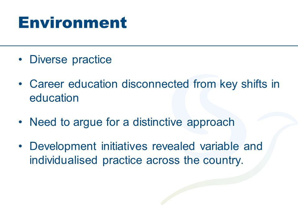 Environment Diverse practice Career education disconnected from key shifts in education Need to argue for a distinctive approach Development initiativ