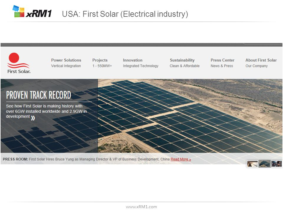 www.xRM1.com USA: First Solar (Electrical industry)
