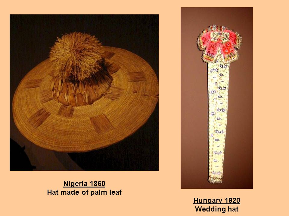 A hat collection Mexico 1991 Hat used by men (!) for the Peyote ceremony Bolivia 1940 Womans festival hat Mexico 1940 Hat used by men in the mountains