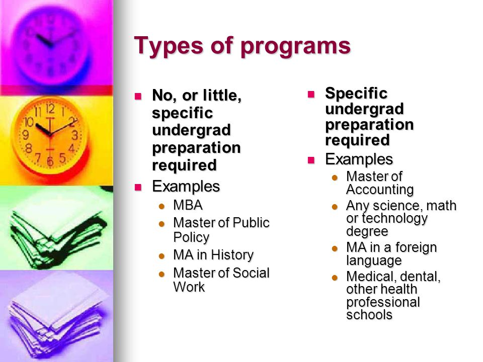 Types of programs No, or little, specific undergrad preparation required No, or little, specific undergrad preparation required Examples Examples MBA MBA Master of Public Policy Master of Public Policy MA in History MA in History Master of Social Work Master of Social Work Specific undergrad preparation required Specific undergrad preparation required Examples Examples Master of Accounting Any science, math or technology degree MA in a foreign language Medical, dental, other health professional schools