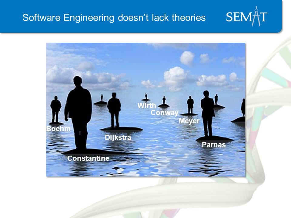 Software Engineering doesnt lack theories Boehm Parnas Conway Dijkstra Meyer Wirth Constantine