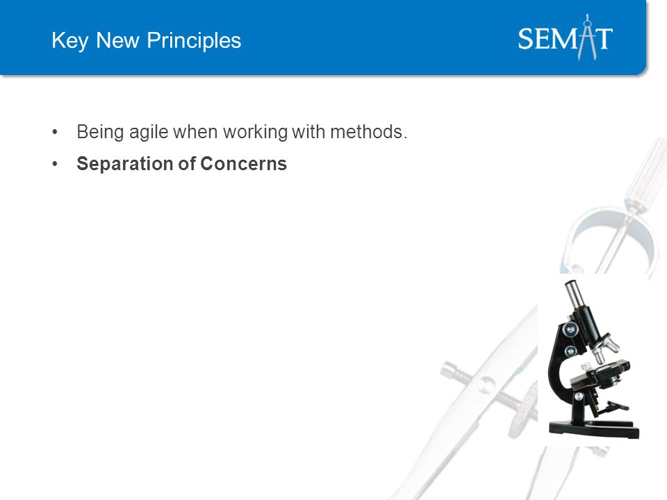Key New Principles Being agile when working with methods. Separation of Concerns