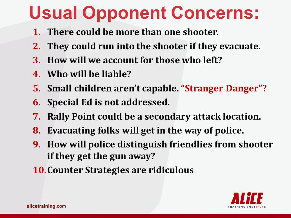 Usual Opponent Concerns: 1.There could be more than one shooter.