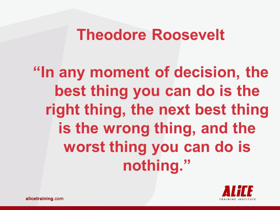 Theodore Roosevelt In any moment of decision, the best thing you can do is the right thing, the next best thing is the wrong thing, and the worst thing you can do is nothing.