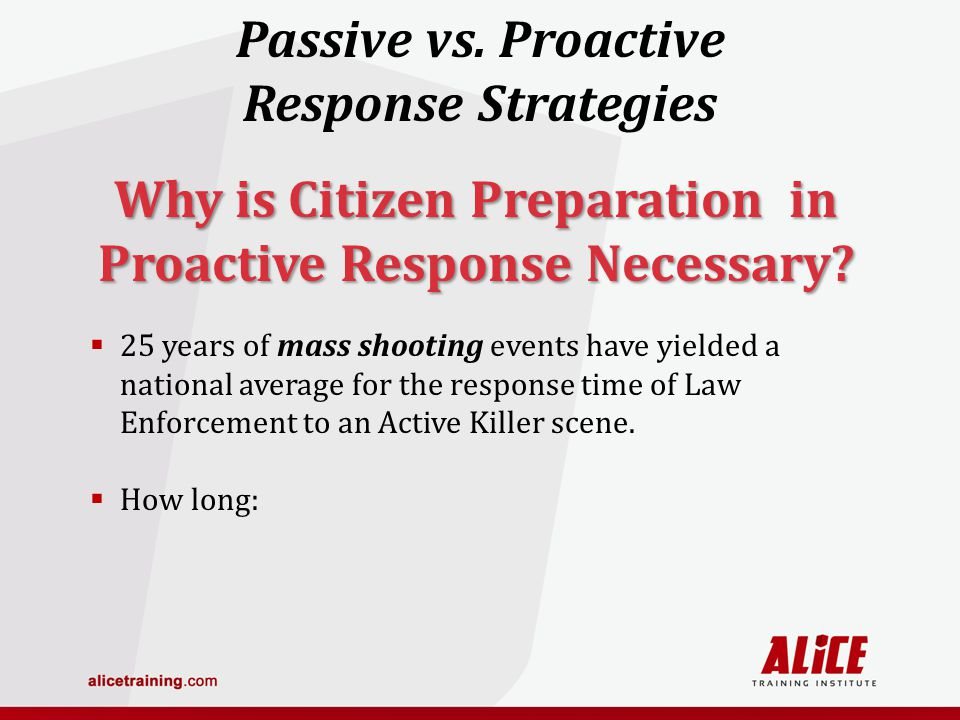 25 years of mass shooting events have yielded a national average for the response time of Law Enforcement to an Active Killer scene.
