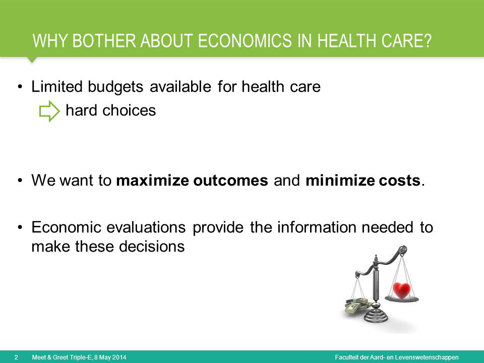 Faculteit der Aard- en Levenswetenschappen WHY BOTHER ABOUT ECONOMICS IN HEALTH CARE.