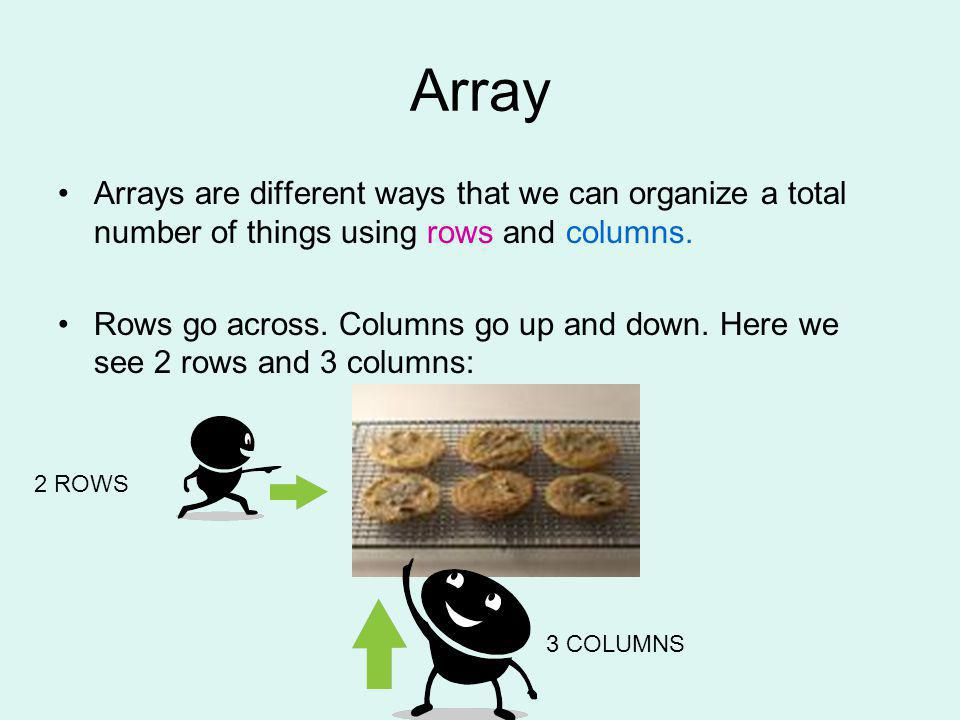 Array Arrays are different ways that we can organize a total number of things using rows and columns.