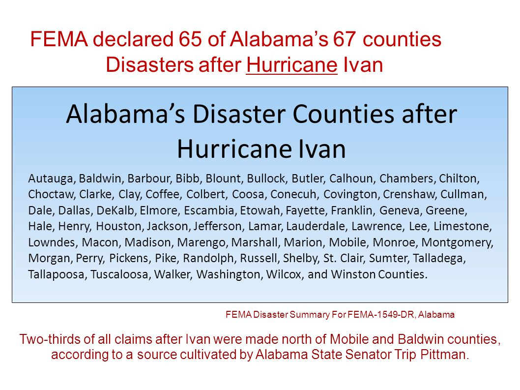 FEMA declared 65 of Alabamas 67 counties Disasters after Hurricane Ivan Designated Counties for Alabama Hurricane Ivan Disaster Summary For FEMA-1549-DR, Alabama Declaration Date: September 15, 2004 Incident Type: Hurricane Ivan Incident Period: September 13, 2004 through September 30, 2004 Individual Assistance (Assistance to individuals and households): Public Assistance (Assistance to State and local governments for the repair or replacement of disaster-damaged public facilities): Autauga, Baldwin, Bibb, Bullock, Butler, Calhoun, Cherokee, Chilton, Choctaw, Clarke, Cleburne, Coffee, Colbert, Conecuh, Coosa, Covington, Crenshaw, Cullman, Dale, Dallas, Dekalb, Elmore, Escambia, Franklin, Geneva, Greene, Hale, Houston, Jackson, Jefferson, Lamar, Lawrence, Lee, Lowndes, Marengo, Marion, Marshall, Mobile, Monroe, Montgomery, Perry, Pickens, Pike, Shelby, Sumter, Talladega, Tallapoosa, Tuscaloosa, Washington, Wilcox, and Winston Counties for assistance for debris removal and emergency protective measures, including direct Federal assistance, at 100 percent Federal funding of the total eligible costs for a period of up to 72 hours.