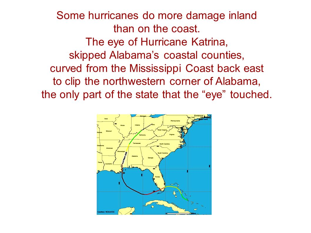 Some hurricanes do more damage inland than on the coast.