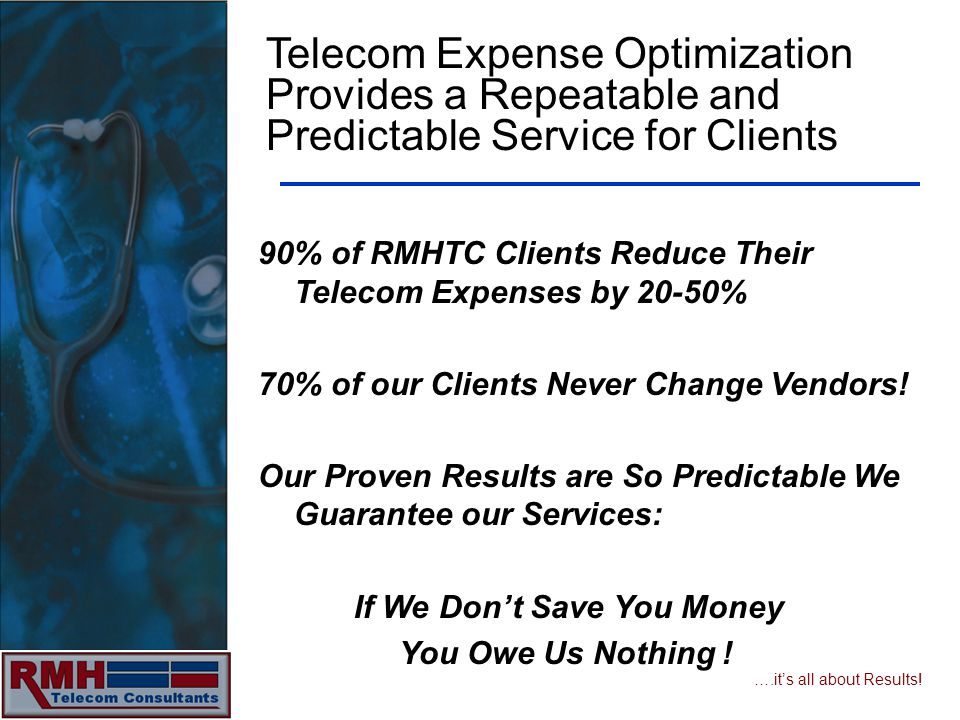 ….its all about Results! Telecom Expense Optimization Provides a Repeatable and Predictable Service for Clients 90% of RMHTC Clients Reduce Their Tele