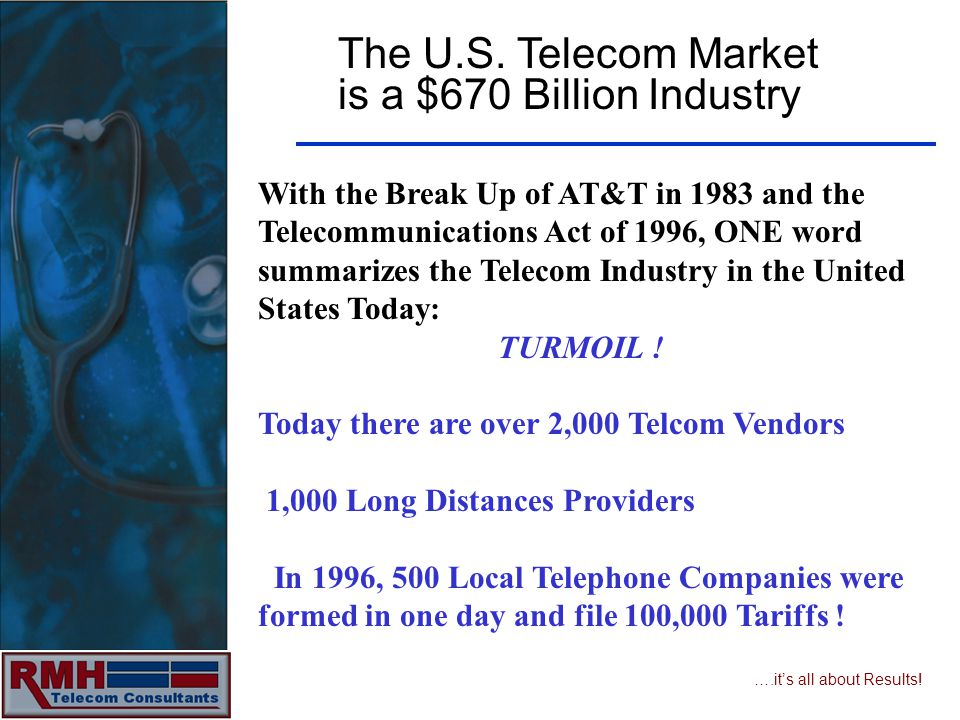….its all about Results! The U.S. Telecom Market is a $670 Billion Industry With the Break Up of AT&T in 1983 and the Telecommunications Act of 1996,