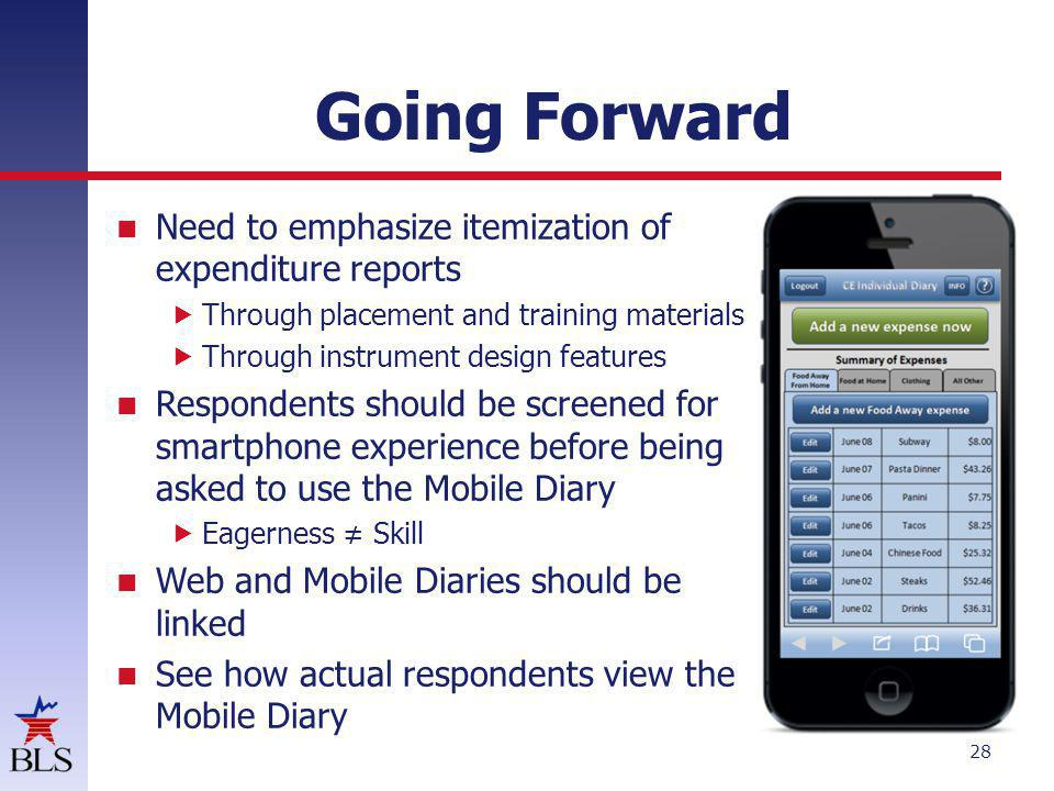 Going Forward Need to emphasize itemization of expenditure reports Through placement and training materials Through instrument design features Respondents should be screened for smartphone experience before being asked to use the Mobile Diary Eagerness Skill Web and Mobile Diaries should be linked See how actual respondents view the Mobile Diary 28