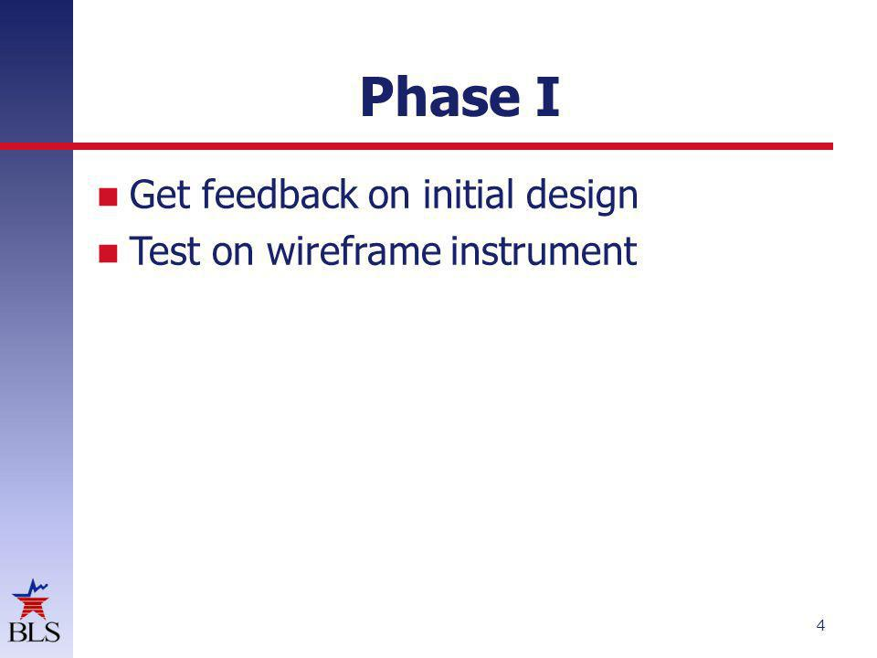 Phase I Get feedback on initial design Test on wireframe instrument 4