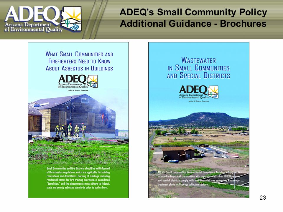 23 ADEQs Small Community Policy Additional Guidance - Brochures