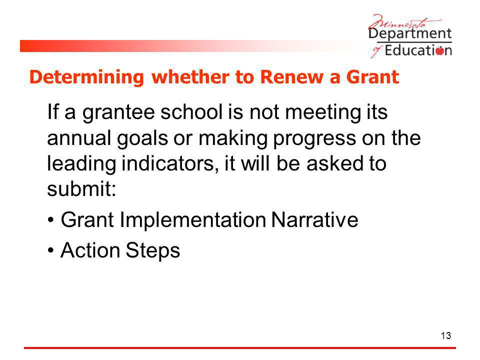 Determining whether to Renew a Grant If a grantee school is not meeting its annual goals or making progress on the leading indicators, it will be asked to submit: Grant Implementation Narrative Action Steps 13