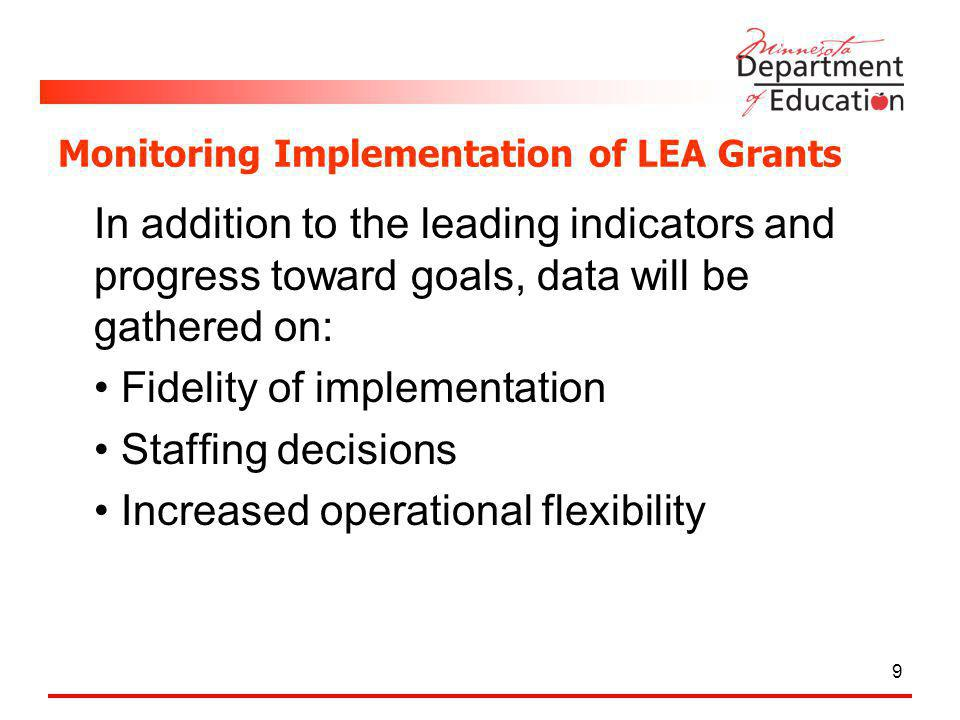 Monitoring Implementation of LEA Grants In addition to the leading indicators and progress toward goals, data will be gathered on: Fidelity of implementation Staffing decisions Increased operational flexibility 9