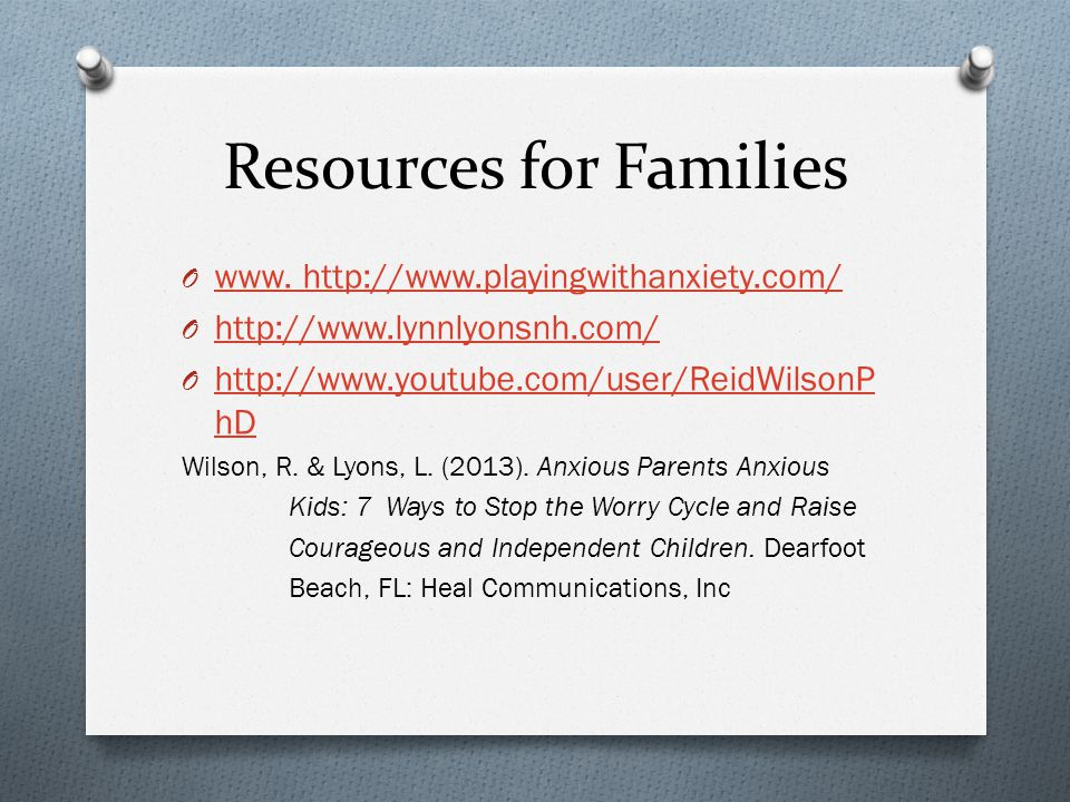 Resources for Families O www. http://www.playingwithanxiety.com/ www. http://www.playingwithanxiety.com/ O http://www.lynnlyonsnh.com/ http://www.lynn