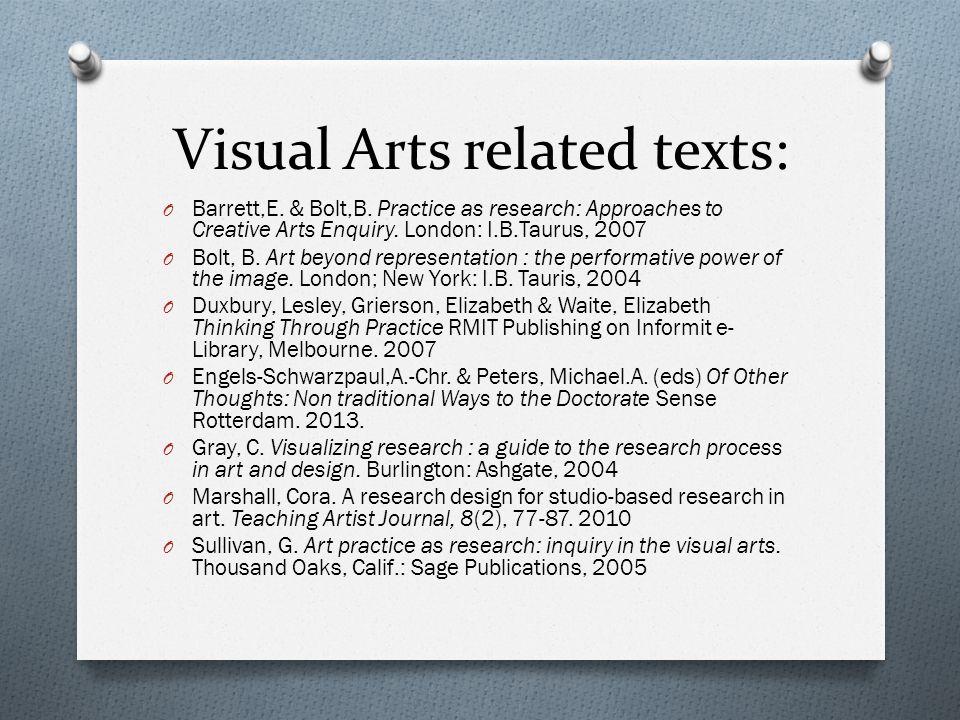 Visual Arts related texts: O Barrett,E. & Bolt,B.