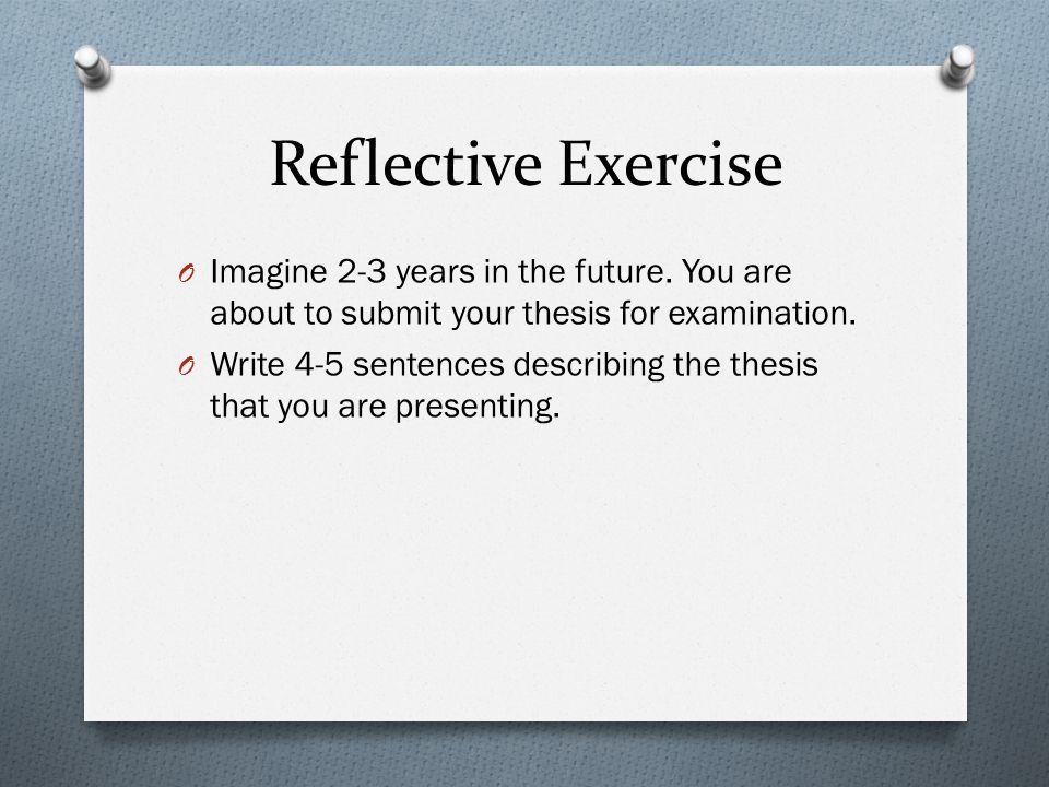 Reflective Exercise O Imagine 2-3 years in the future.